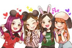 BLACKPINK anime version- Did anyone else absolutely love Blackpink on Weekly Idol? I want them to visit again! Best Friend Drawings, Kpop Drawings, Cute Drawings, Pink Drawing, Black Pink Kpop, Blackpink Photos, Kpop Fanart, Blackpink Jisoo, Kim Jennie