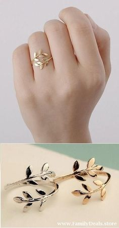 Silver or Gold Leaf Ring, Olive branch Ring. - Silver or Gold Leaf Ring, Olive branch Ring. Cute Jewelry, Jewelry Rings, Jewelery, Silver Jewelry, Jewellery Box, Jewellery Shops, Jewelry Stores, Handmade Jewellery, Jewelry Ideas