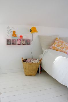 Love these pops of color with crisp clean white floors and bedding Dream Bedroom, Home Bedroom, Girls Bedroom, Bedroom Decor, Design Bedroom, Bedroom Ideas, Room Inspiration, Interior Inspiration, Home Interior