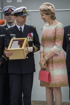 Queen Mathilde of Belgium during the baptism of patrol ship P901 'Castor' 10 July 2014 at the Zeebrugge marine base in Zeebrugge.