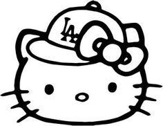 hello kitty baseball | Hello Kitty LA Dodgers Baseball Cap Decal Sticker
