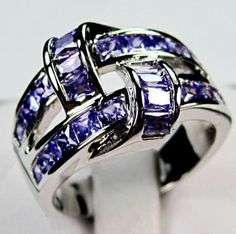 Amethyst 10KT white Gold Filled Ring