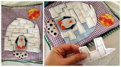 Cute igloo puzzle with a penguin for a winter page quite book idea.