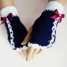 Hand Knit Gloves Dark Blue Mitten Ornamented Dark Red by Pasin, $32.00
