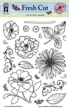 Flowers Silhouettes Stamp by Hot Off The Press Inc Plant Insects, Journaling, Flower Silhouette, Bullet Journal School, Stamp Printing, Color Crafts, Flower Stamp, Bike Art, Flower Images