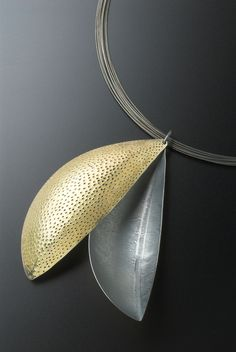 Jane Adam - Leaf pendant in oxidised silver and gold bimetal