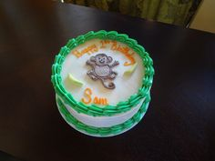 Go Bananas over this cake!  Monkey first birthday cake!