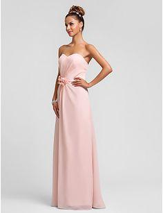 Brautjungfernkleid - Perlen Pink Chiffon - Etui-Linie - bodenlang - Herz-Ausschnitt Übergröße – USD $ 79.99