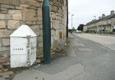 Parish boundary marker attached to 190 Bradford Rd, Combe Down, Bath Bradford, Somerset, Monuments, Great Britain, Marker, Buildings, Sidewalk, Bath, Stone