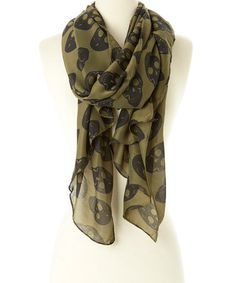 Another great find on #zulily! Olive & Black Skull Scarf #zulilyfinds
