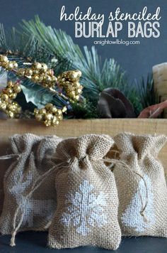 Make these easy Holiday Stenciled Burlap Bags this holiday season for little treats, gift cards or even a fun placecard idea!