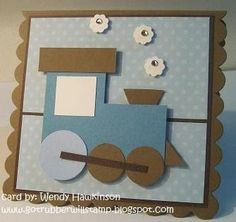 "body of the train 'free hand' and punched wheels w/ the 1"" and 3/4"" circle punches. No train is complete w/o little puffs of steam. I used the itty bitty punch pack punch that is obviously a puff of steam. :) Just to give the card and little sparkle, I added a little rhinestone to each puff."