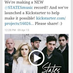 We're making a new STATES #music #record!!! And we've launched a Kickstarter to help make it possible! http://www.kickstarter.com/projects/1602696600/states-2nd-full-length-album Pleaassee share :)  (Listen at: WWW.STATESMUSIC.COM)
