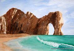 Original watercolour landscape painting seascape Durdle Door Dorset beach coast cliffs by littlepurpleboat on Etsy https://www.etsy.com/listing/207951438/original-watercolour-landscape-painting