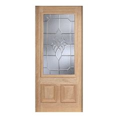 Main Door 36 in. x 80 in. Mahogany Type Unfinished Beveled Zinc 3/4 Glass Solid Wood Front Door Slab