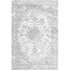 Distressed Faded Medallion Gray Rug