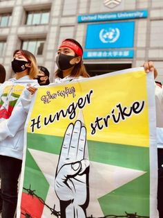 In March 20, Myanmars in Japan, go on hunger strike to request urgent actions from UN on Myanmar crisis. #whatsgappeninginmyanmat Hunger Strike, United Nations, Japan, Burmese, March, Action, Group Action, European Burmese, Japanese