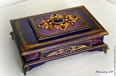 ** Altered Purple Cigar Box Decoupaged @rpmapkamacetpob