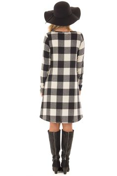 Black and Ivory Plaid Long Sleeve Dress with Hidden Pockets front close up