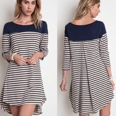 Striped Tunic Dress Top This striped tunic can be worn as either a dress  or a top. Sizes: S M L available Tops Tunics