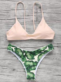 Spaghetti Straps Palm Tree Bikini - Pink