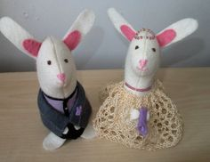 White Rabbit Wedding Cake Toppers Felt Rabbits by oothatsnice