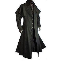 Cotton long coat (Drill cotton) with satin detail Roupas Góticas 570636836d4