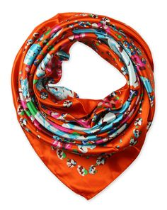 "Corciova®  35"" Silk-like Big Square Scarf 35 x 35 (Camellia orange background)"