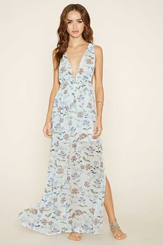 Forever 21: Botanical Print Maxi Dress (Light Blue/Purple)