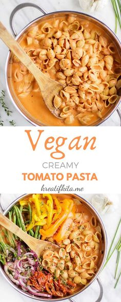 Five Approaches To Economize Transforming Your Kitchen Area Vegan One Pot Pasta With Creamy Tomato Sauce - All Thing Recipes Creamy Tomato Pasta, Tomato Soup, Vegan Creamy Pasta, Vegan Pasta Sauce, Tomato Basil, Whole Food Recipes, Cooking Recipes, Pizza Recipes, Picnic Recipes