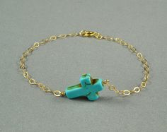 SALE: Turquoise Sideways Cross Bracelet, 14K Gold Filled Chain, Simple, Delicate, also in Sterling Silver Chain, Gift under 10