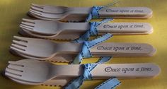 "Wood ""Once Upon A Time"" Party Cutlery / Utensils / Silverware / Flatware Fairy Tale, Wedding, Disney Princess Birthday, Bridal Shower. $10.00, via Etsy."
