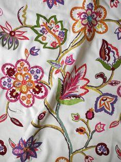 'Daisy' multi-coloured #floral #embroidery @La Maison Pierre Frey. '