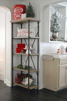 Cottage Christmas Home Tour at Fox Hollow Cottage, featuring the Better Homes and Gardens Rivercrest bookshelf. Walmart and BHG offer such an affordable way to add stylish farmhouse furniture to your home! #sponsored