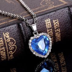 3ebaaedf6f0c95 Titanic Heart Of The Ocean Sapphire Blue CZ Crystal Necklace Pendant Jewelry   6.99 New Romantic Movies