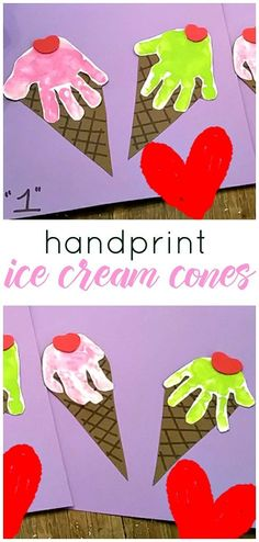 Cute handprint ice cream cones for a summer kids craft! Cute handprint ice cream cones for a summer kids craft! The post Cute handprint ice cream cones for a summer kids craft! appeared first on Toddlers Diy. Daycare Crafts, Classroom Crafts, Baby Crafts, Preschool Crafts, Fun Crafts, Diy Crafts With Paper, Kindergarten Crafts Summer, Simple Kids Crafts, Infant Crafts