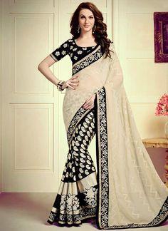 Buy Black Resham Work Faux Chiffon Designer Saree, Online #sarees #royal #designersarees #ethnic #glamour