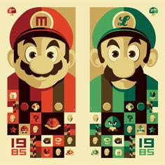 / 2 up Mario and Luigi illustration by Tom Whalen : strongstuff illustration + design Tom Whalen, Super Mario Brothers, Super Mario Bros, Super Nintendo, Geeks, Mario Und Luigi, Deco Gamer, Kairo, Fan Art