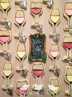 Wine Cookies~                            By You Can Call Me Sweetie, wine glasses, pink, yellow