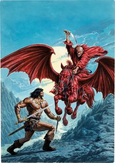 Original cover painting by Bob Larkin from Savage Sword of Conan #206, published by Marvel Comics, February 1993.