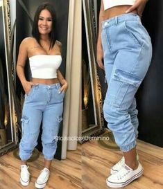 Jogger Jeans Disponvel P e M lookdodia ooizigirlstore modafeminina look news estilo moda Swag Outfits, Mode Outfits, Grunge Outfits, Trendy Outfits, Summer Outfits, Fall Outfits, Jogger Outfit, Teen Fashion, Fashion Outfits