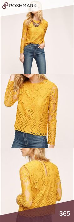 """Anthropologie Mixed Lace Top """"Patrie Mixed Lace Top"""" from Anthropologie in a mustard yellow. Label brand is """"Moulinette Soeura"""". Polyester lining. Keyhole button back. Only worn twice! In perfect condition! Anthropologie Tops Blouses"""