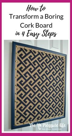 Learn how to transform a cork board in 4 easy steps! This cork board makeover uses burlap and faux nailhead trim. #diycrafts #memoboard #corkboard