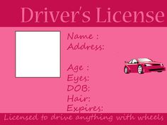 Kids driving and fishing license -Free printable ~ Crafts Made By Laks Printable Crafts, Templates Printable Free, Free Printables, Vbs Crafts, Crafts To Make, Planes Party, Driver's License, Driving School, Children Activities