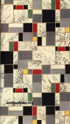 1942 Linoleum patterns from Congoleum. Floor Patterns, Textile Patterns, Geometric Patterns, Linoleum Flooring, Kitchen Flooring, Living Vintage, Wood Vinyl, Art Deco Design, Motif Design