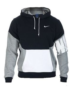 NIKE Pullover hoodie Long sleeves Adjustable drawstring on hood NIKE swoosh logo on chest Front kang... Stretch fit. 80% cotton, 20% polyester. Black 616474010.