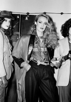 Jerry Hall backstage ready to go on the catwalk at a Yves Saint Laurent Runway Show ©Roxanne Lowit
