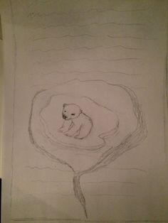 Hierbij wil ik een scheur in een bladzijde maken waardoor je een kleine ijsbeer ziet zitten op een ijsblok, dot zou ik in 3D maken om het echter te laten lijken