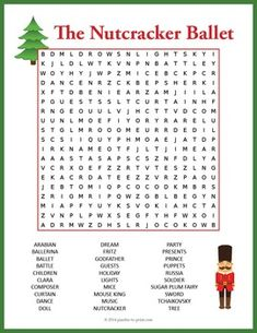Nutcracker Word Search - A word search puzzle featuring characters and vocabulary from the Nutcracker ballet.  Use this as a Christmas activity or as a treat for early finishers.  Kids love puzzles and word searches are a great way to improve spelling while having fun.There are 30 words to find in this word search and they might be found in any direction including backwards and diagonally.