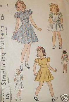 Vtg 1930s Simp 3234 Cute Girls Dress Pinafore Pattern 2 | eBay